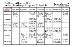 Junior Academy Program Schedule