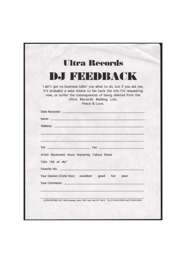 DJ Feedback Forms From Back In The Day