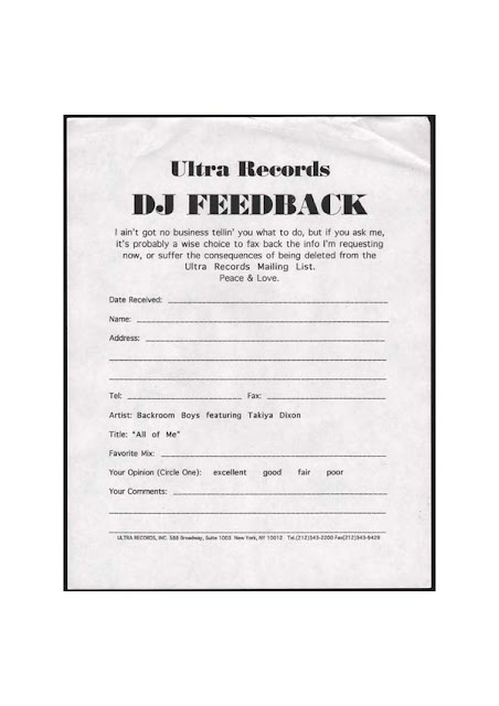DJ Feedback Form From Ultra Records  Examples Of Feedback Forms