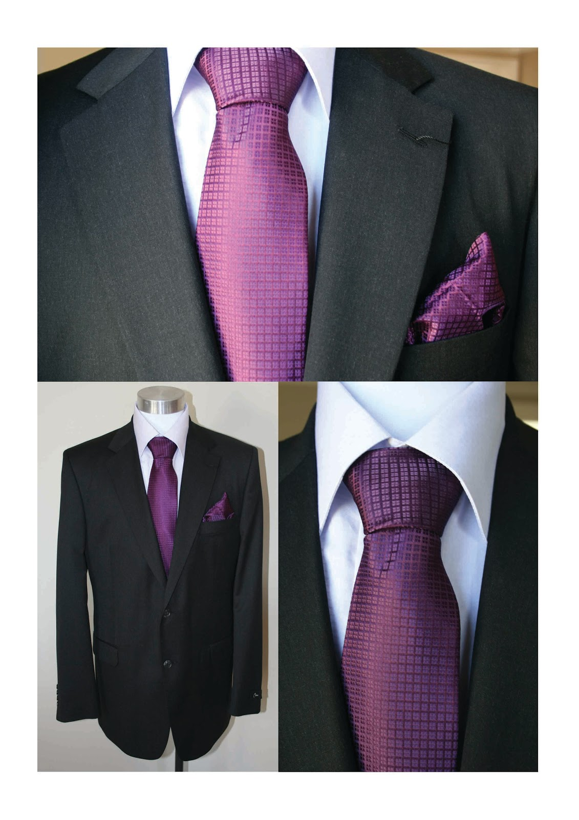 The Gallery For Black Suit White Shirt Purple Tie