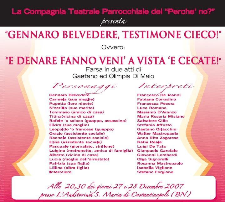 Gennaro Belvedere, testimone cieco!