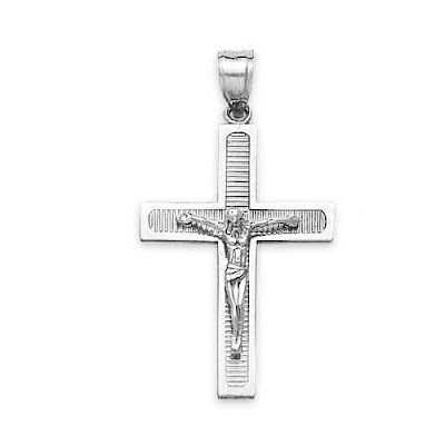 White Gold Lined Crucifix