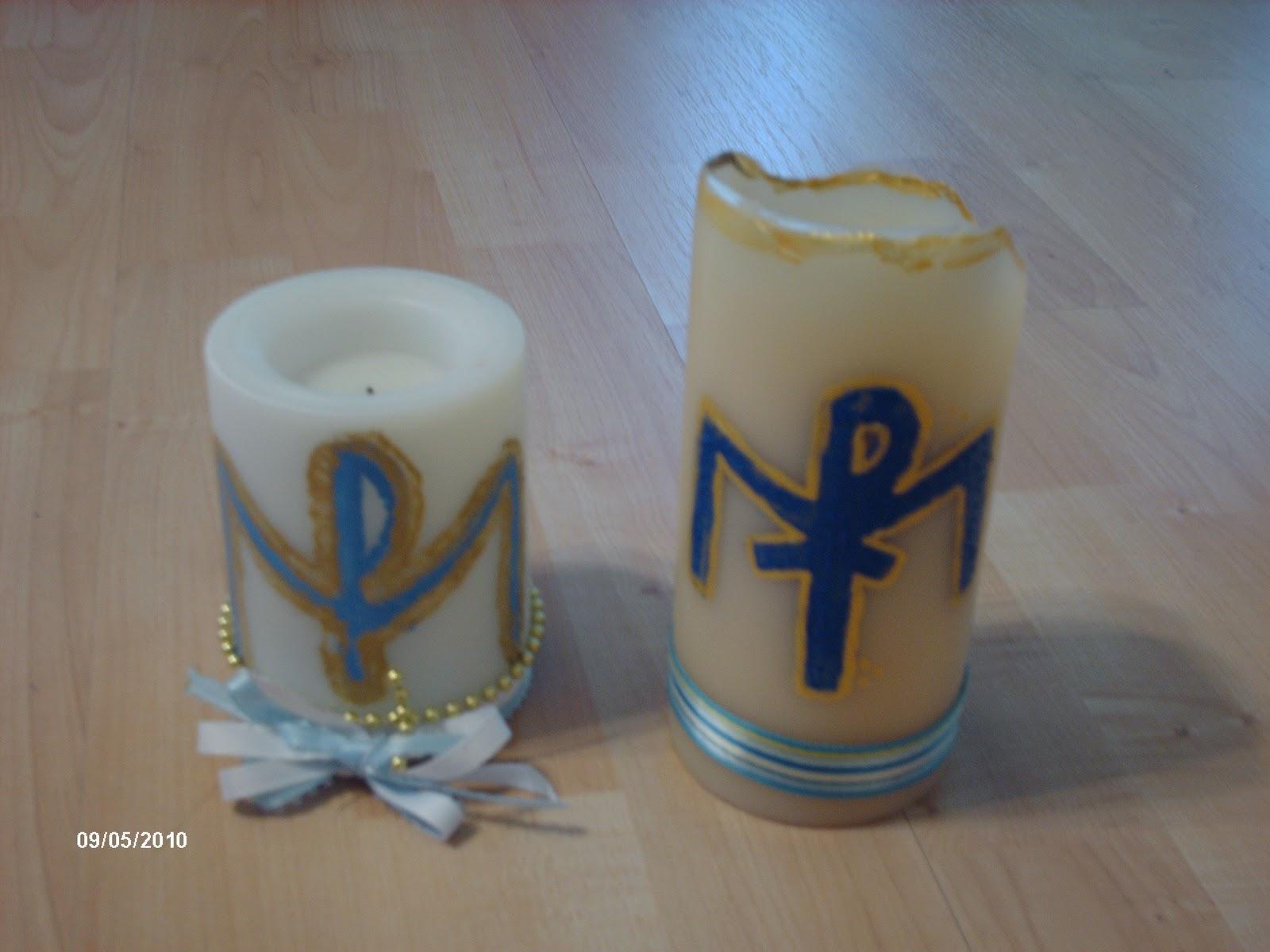 Familia Cat lica Decora un cirio o vela con s mbolos Marianos