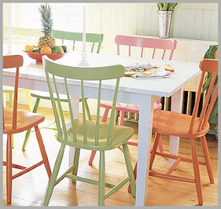 This house we call home painting furniture - Colored kitchen chairs ...