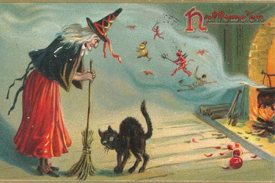 i love the vintage cards of yesteryear made at a time witches and black cats still roamed the countryside searching for kids to turn to gingerbread - Old Fashion Halloween