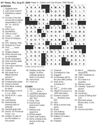 The New York Times Crossword in Gothic: 08.07.08 -- GWTW