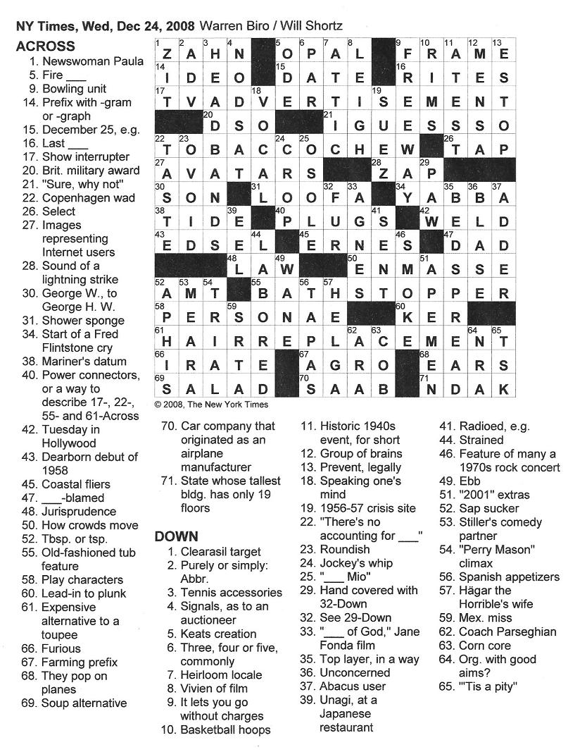 Easy Crossword Puzzles Online