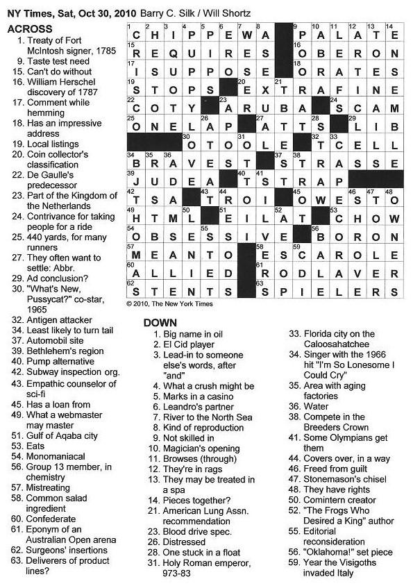 The New York Times Crossword in Gothic: October 2010