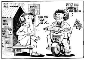 karikatur opini; harga bbm akan turun lagi