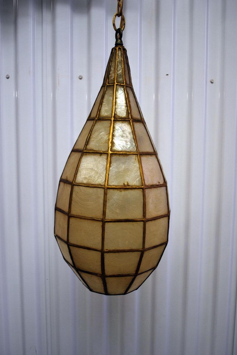 midcentury capiz hanging swag lamps