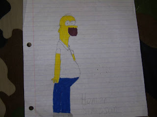 Hand drawn picture of Homer Simpson