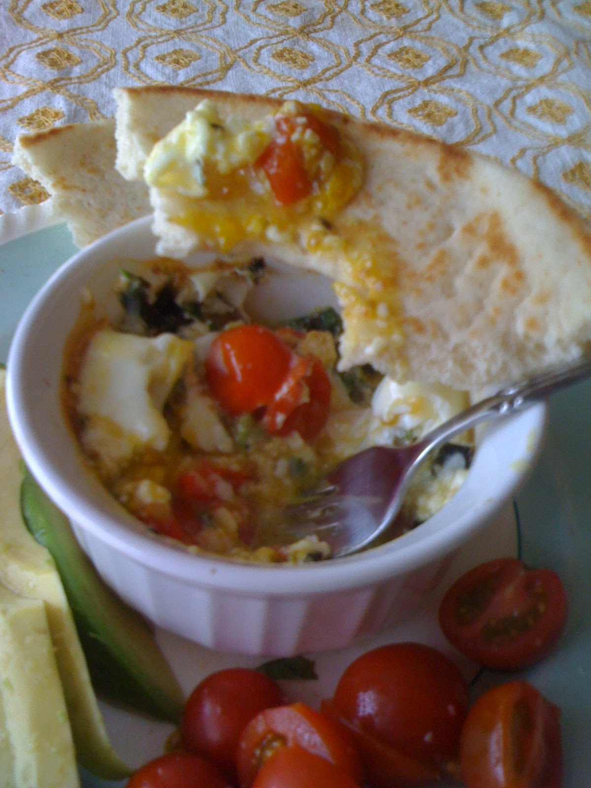 Fish and Veggies: Baked Eggs with Tomatoes, Basil and Feta Cheese