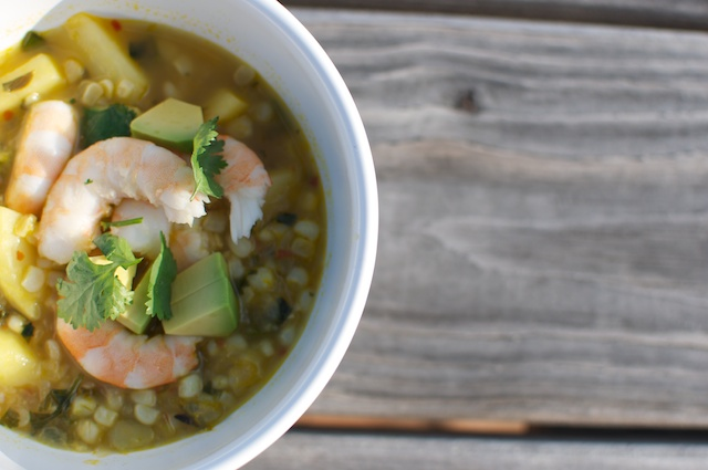 Fish and Veggies: Summer Corn Soup with Shrimp
