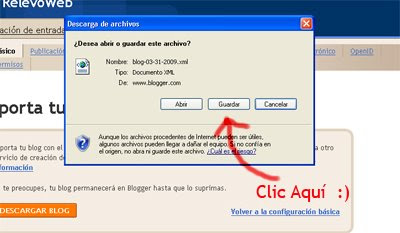 Guardar la Copia de seguridad del Blog
