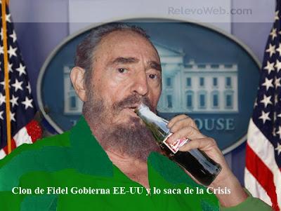 Clon de Fidel Castro bebiendo Coca Cola en la Casa Blanca. Castro´s clone drinking Coke in the White House.