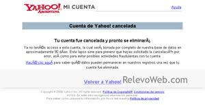Cuenta de Yahoo cancelada para luego ser borrada.
