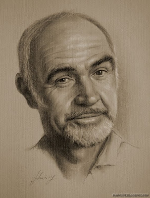 Black and White pencil drawing of Celebrities