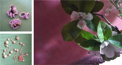 Gioielli di Radica fatti ad uncinetto e fiori di Melo Cotogno (Cydonia oblonga Mill.)