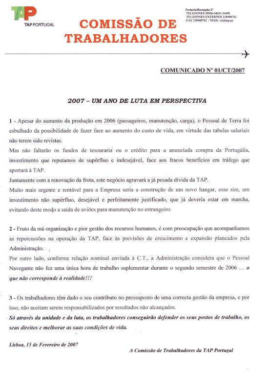 Comunicado 01CT2007