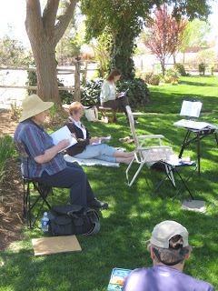 Roland Lee painting workshop at old Bloomington on the grounds of