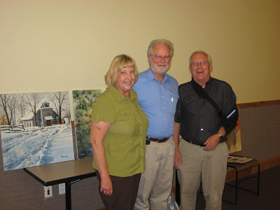 Artist Charles Harrington with Carol and Warren Larson and artist Roland Lee