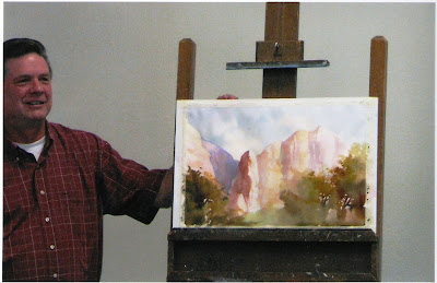 Roland Lee working on demonstration painting for Zion Painting Workshop