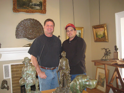 Artist Roland Lee and sculptor Kreg Harrison in Kreg's studio