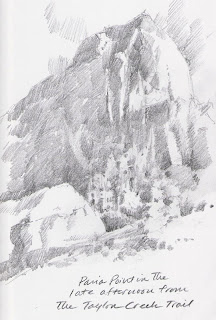Roland Lee sketchbook drawing of Paria Point in Kolob Canyons section of Zion National Park