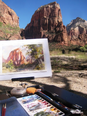 Roland Lee plein air painting of Angel's Landing in Zion National Park
