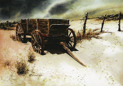Desert Wagon - a painting by Roland Lee in the permanent collection of the City of St. George