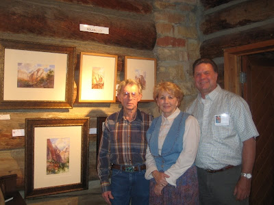 Lloyd and Nina Laycook bought Roland Lee's plein air painting of Emerald Falls at the Maynard Dixon Studio exhibit of the Footsteps of Thomas Moran event