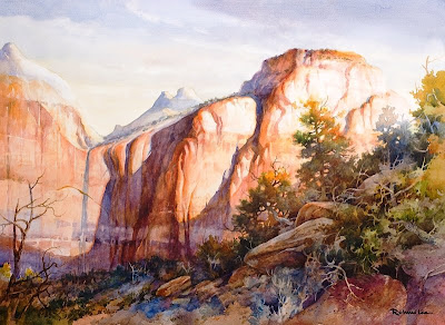 Morning Light on the Sentinel Zion National Park painting by Roland Lee