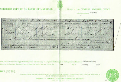 Marriage entry for John Thomas Geary and Sophia Fryer at St. Saviour Surrey England