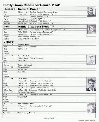 Samuel Keele photo family group sheet p. 1