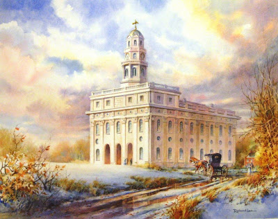 The Nauvoo Temple, Winter 1845-46, original painting by Roland Lee