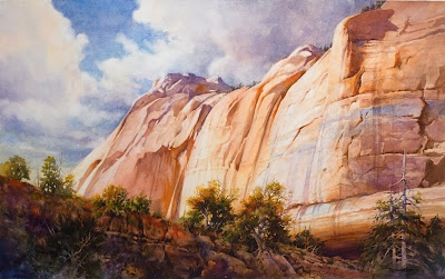 Kolob Cliff Face Painting of Zion National Park by Roland Lee