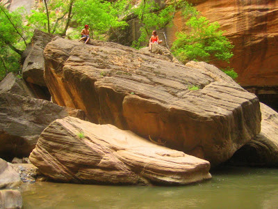 Huge Boulders line the Virgin River in Zion National Park