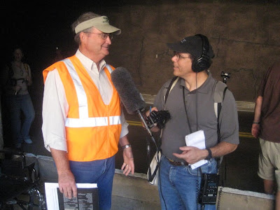Howard Berkes from NPR interviews Lyman Hafen during the Zion Tunnel Walk