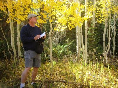 Artist Roland Lee sketching the fall colors near Duck Creek on Cedar Mountain