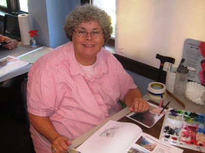 Janet Taylor in Roland Lee watercolor workshop