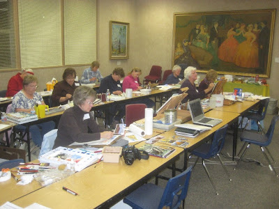 Students hard at work in Roland Lee watercolor painting class
