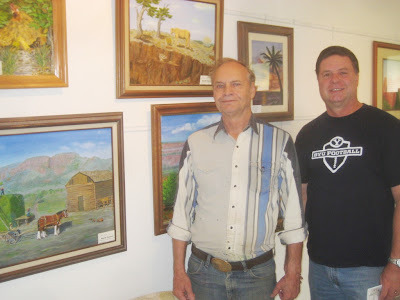 Barth Hansen and Roland Lee at the Staples Art Gallery in Elsinore UT