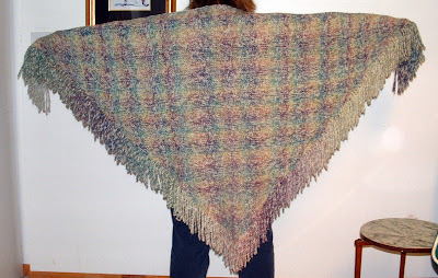 Completed Rainbow Plaid Shawl