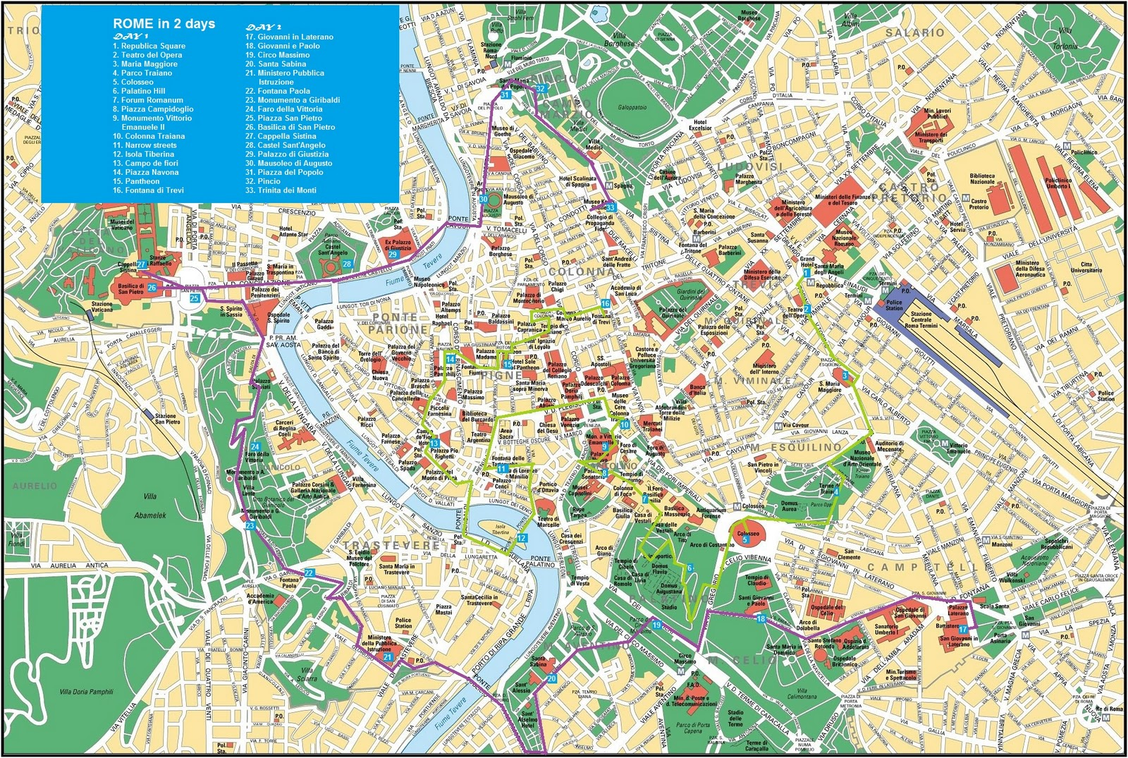 top sites in rome map metro – Map Of Rome Tourist Attractions