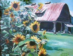 Barn & Sunflowers