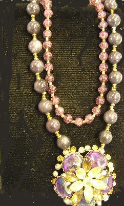 Purple Jade & Cracked Glass Beads with Rhinestone Flower Centerpiece