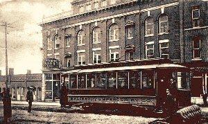 Streetcar Passing Vanderford Hotel