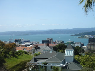 wellingotn CBD harbour from botanical gardens cable car new zealand