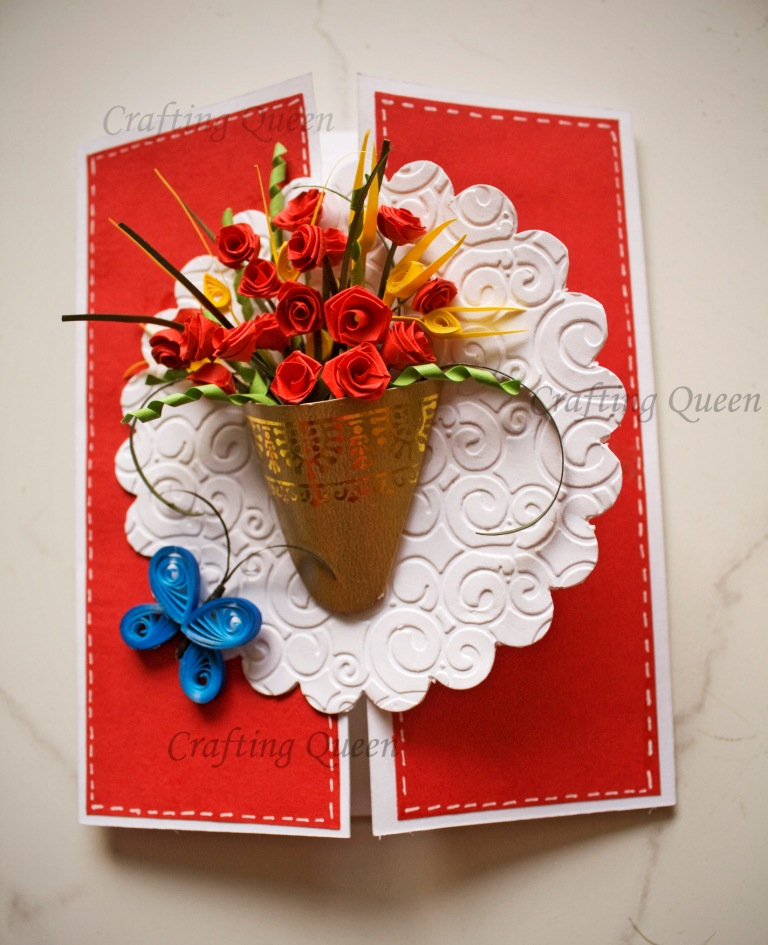 Gate Fold Card with Quilled Rose Bouquet