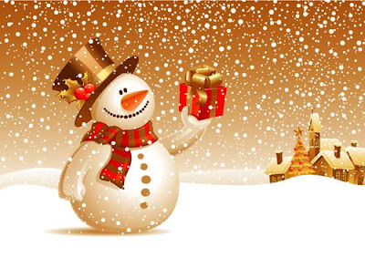 snow and snowman christmas background